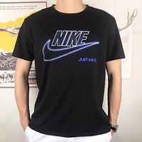 NIKE Just do it New fashion  letter hook print couple top t-shirt Black