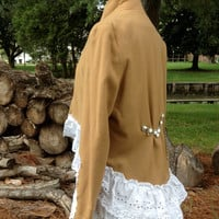 Repurposed Blazer Hi Lo shabby romantic boho upcycled lagenlook reconstructed 100% wool , M to L