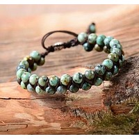 Handmade Natural African Turquoise Wrap Bracelet