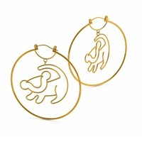 Gold Plated Simba Outline Lion King Hoop Earrings From Disney Couture : TruffleShuffle.com