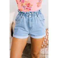 Tough Luck Denim High Waisted Shorts (Denim Blue)