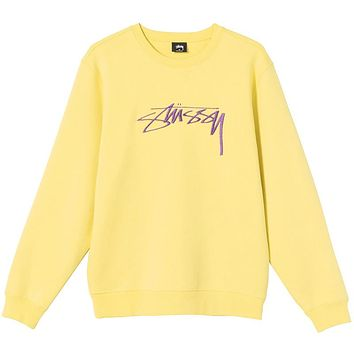 Stussy Smooth Stock Embroidered Crew Lemon