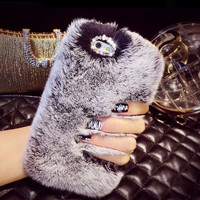 """Newest Bling Fluffy Soft Rabbit Hair Winter Phone case for iPhone 5 5s 6  6S 4.7"""" 6 6S plus 5.5"""" Soft Skin Phone Back housing"""
