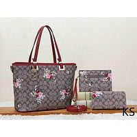 Coach Women Fashion Leather Flower Crossbody Shoulder Bag Tote Set Three Piece