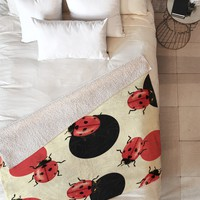 Belle13 Ladybird Polka Fleece Throw Blanket