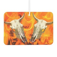 Cow skull and fire