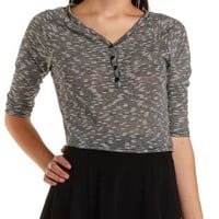 Black Combo Cropped Slub Knit Henley Top by Charlotte Russe