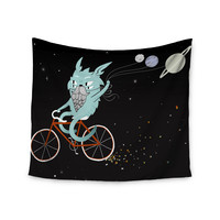 """Anya Volk """"Bunny In Space"""" Red Fantasy Wall Tapestry"""