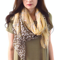 Cheetah + Belts Printed Scarf, Fashion Accessory, Leopard Print Scarf, Woman Summer Scarf, Womans Gift