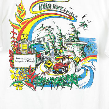 90s HANA HIGHWAY HAWAII tee / tropical flowers shirt / colorful / beach / surfer / oversize / large
