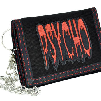 Red Horror Psycho Tri-Fold Wallet with Chain Alternative Clothing