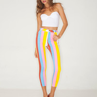 Motel Jodie Cropped Skinny Jean in Candy Vertical Stripes