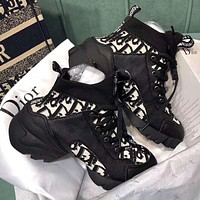 DIOR new D letter embroidery socks old shoes lace-up increased casual black sneakers Shoes Black