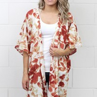 Blissfully Floral Crochet Back Kimono {Rust Mix}
