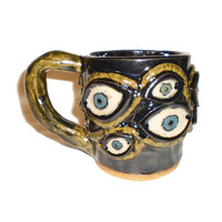 Eye Coffee Cup (1) - Stoneware Clay Slab Pot With Pattern of Molded Eyes