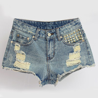 Wash Blue Denim Shorts with Triangle Studs