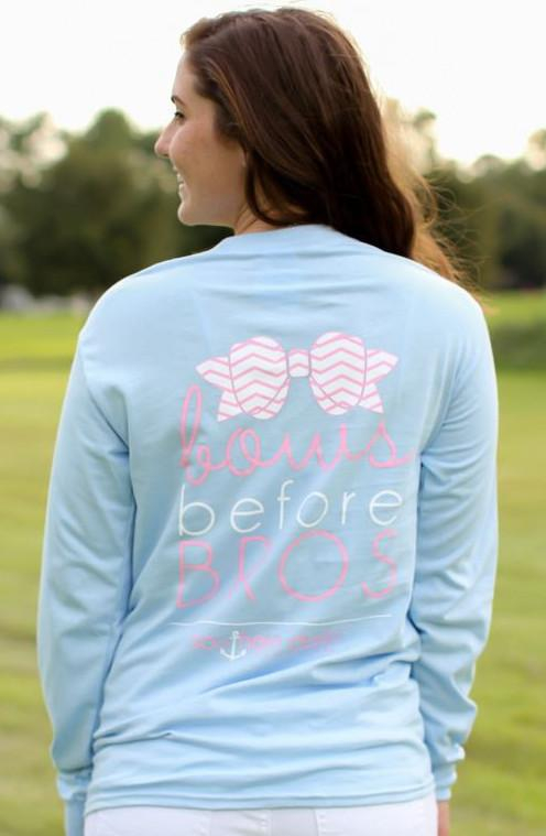 Image of SALE Southern Darlin Bows Before Bros Chevron Bow Funny Longsleeve Bright Girlie T-Shirt