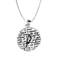 "Sterling Silver ""A True Friend Is Someone Who Knows the Song In Your Heart"" Reversible Bird Pendant, 18"""