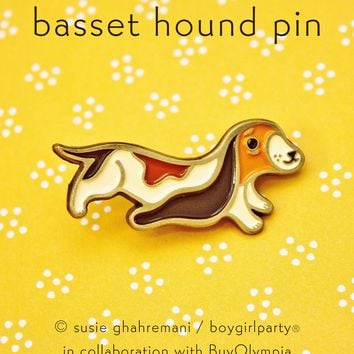 Basset Hound Pin - Dog Enamel Pin Brooch by boygirlparty