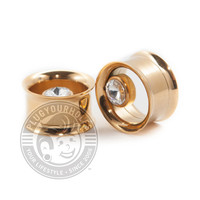Gold Internally Threaded Steel Tunnels with Offset Gem
