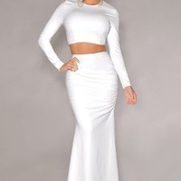 Sexy Mermaid Maxi Skirts Long Sleeve Two Piece Bodycon Crop Top Pencil Skirt Set