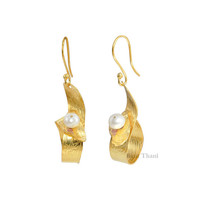 Stunning White Fresh Water Pearl Round Bead Micron Gold Plated Sterling Silver Earring - #1585