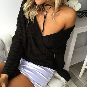 V-Neck Long Sleeve Knit Top Sweater