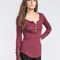 Others Follow Crochet Sleeve Womens Top Cabernet  In Sizes