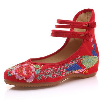 Vintage Embroidered Women Flats Old Beijing Mary Jane Ballet Flat Shoes Peacock Casual Cloth Shoes Woman Plus Size 43
