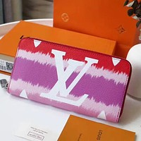 Inseva LV wallet Louis Vuitton Clouds print Gradient Colorful Wallet Rose red