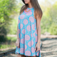 All Around The World Dress, Teal-Pink