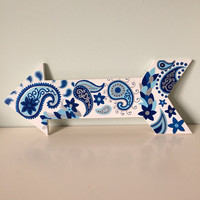 Handpainted Paisley Patterned Blue, Navy and Silver 16x6 in. Solid Wood Arrow