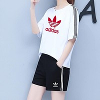Adidas Women Fashion Short Sleeve Top Print Shorts Set Two-Piece Sportswear