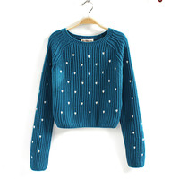 Long Sleeve Hearts Embroidered Crop Sweater(N1118)