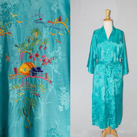 Vintage Embroidered Chinese Robe Turquoise Bombshell Pin-up Rayon