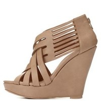 Qupid Strappy Crisscrossing Wedges by Charlotte Russe