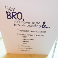 Brother/Sister Blue Typography Card Hey Bro// Siblings Greeting Card// Thinking of You// Lets Hangout