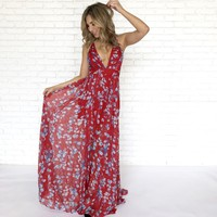 Blue Iris Criss Cross Maxi in Red