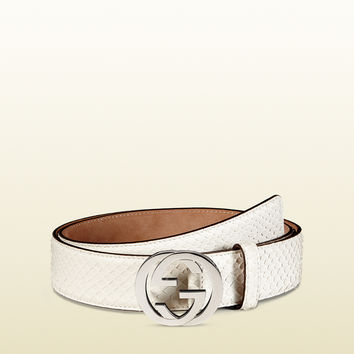 Gucci - python belt with interlocking G buckle 368186LLC0N9022