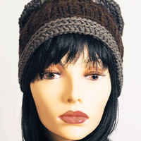 Hand knit hat - Crochet beanie - Brown hat - Womans winter hat - Teen girl hat - Handmade hat - Chunky knit hat - Fall fashion - Fall gift