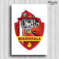 paw patrol Marshall poster cartoon dog print