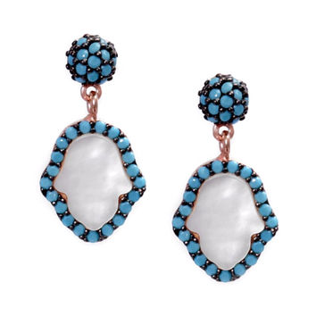 Hamsa Hand Earrings w/ Nano Turquoise - Rose Gold Sterling Silver
