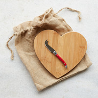 Heart Cheese Board + Knife Set