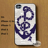 Sailing Anchor iPhone case / iPod case cover - Ship Anchor iPhone 4 case, iphone 4s Case, iPhone 5 5s 5c case, Ipod Touch 4 5 Case