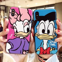 Embossed Cute Donald Duck Daisy Minnie Mouse Winnie Monsters Case For iPhone XS Max XR X 6 6S 7 8 Plus
