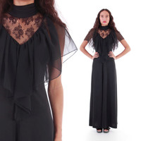 70s Victorian Style Lace Chiffon Draped Capelet Black Goth Gown Maxi Dress Womens Clothing Size Small