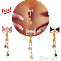 Reverse Belly Ring Dangle Clear Navel Bar Gold Belly Button Ring