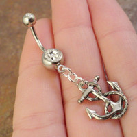 Silver Anchor Belly Button Jewelry Ring by MidnightsMojo on Etsy