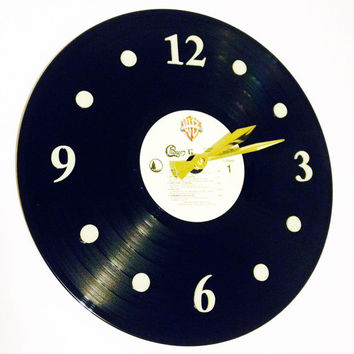 "Clock, Record Clock, Vinyl Record Clock, Wall Clock, Chicago Record, Recycled Record, 12"" Record, Battery & Wall Hanger included, Item #48"