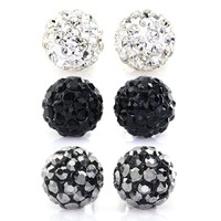 Bling Bling Rhinestones Crystal Fireball Disco Ball Ball Stud Earrings, Stainless Steel, Hypoallergenic